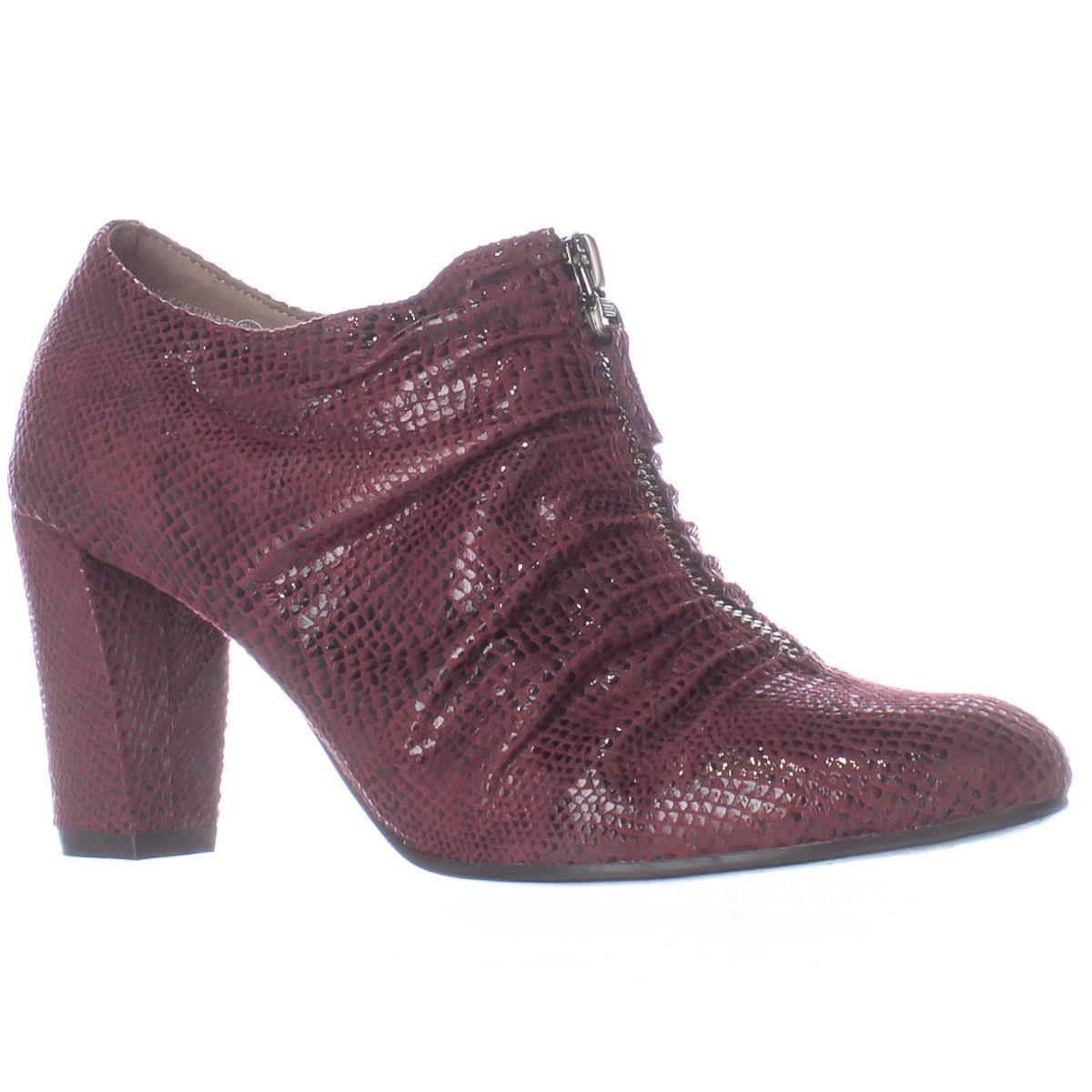 Womens Aerosoles Fortunate Front Zip Scrunch Ankle Boots, Wine Snake by Aerosoles