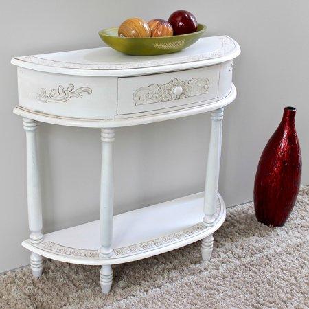 Antique Carved Furniture - International Caravan Windsor Antique White Hand Carved Console Table