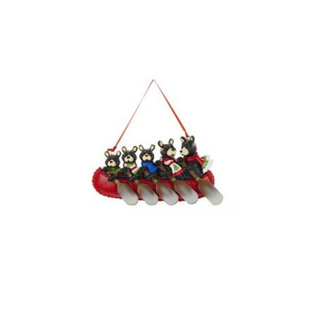 """5.5"""" Brown Bear Family of Five in Canoe Christmas Ornament for Personalization"""