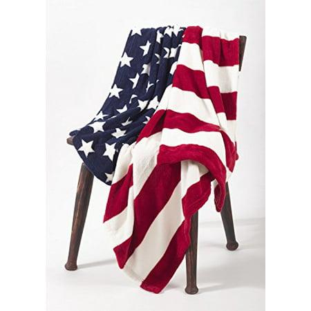 """Fennco Styles Soft Ultra Plush Cozy Warm American Flag Throw Blanket - 50""""x60"""""""