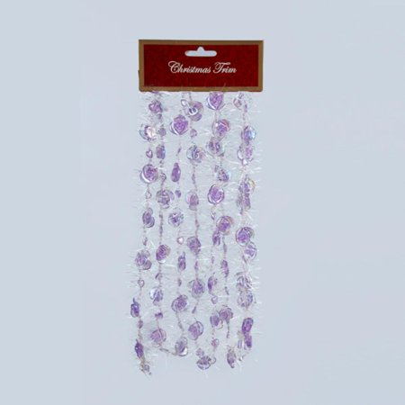 9' Purple Rose Iridescent Beaded Christmas Garland with White Tinsel