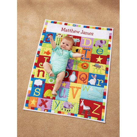 Personalized Baby Alphabet Quilt-Available in Primary or (Personalized Baptism Blanket)