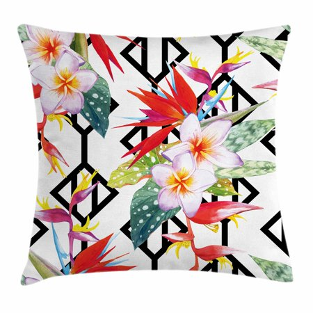 Beautiful Shapes - Plant Throw Pillow Cushion Cover, Beautiful Vibrant Colored Exotic Flowers on Absract Shapes Natural Way of Life, Decorative Square Accent Pillow Case, 18 X 18 Inches, White Multicolor, by Ambesonne