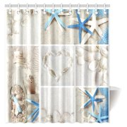 MYPOP Collage of Summer Seashells Decor Shower Curtain, Seacoast with Sand Colorful Various Seashells and Starfish Tropics Aquatic Wildlife Theme Fabric Bathroom Set with Hooks, 66 X 72 Inches