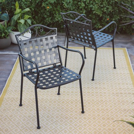Belham living capri wrought iron bistro patio dining for Wrought iron cafe chairs