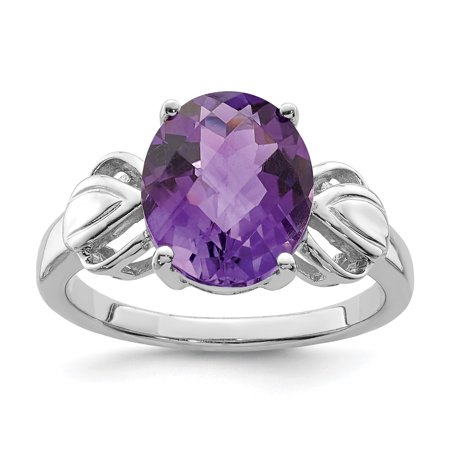925 Sterling Silver Rhodium-plated Oval Checker-Cut Amethyst Ring