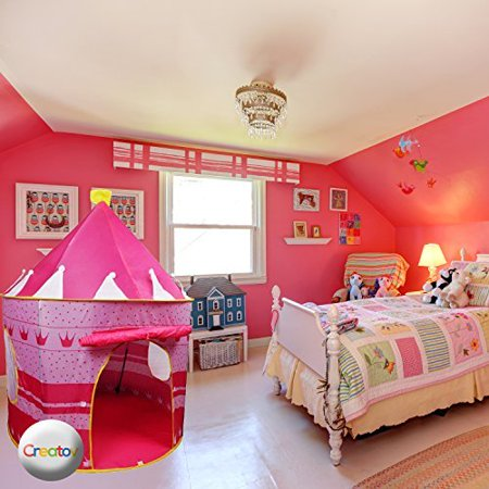 Children Play Tent Girls Pink Castle for Indoor/Outdoor Use With Glow in the Dark Stars Foldable with Carry Case - Creatov - image 3 of 5