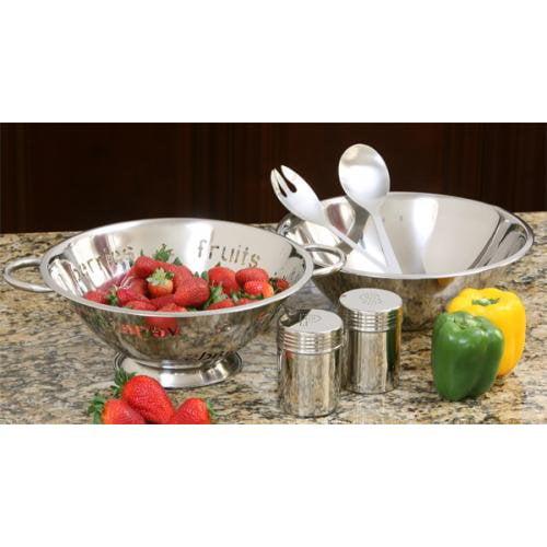 Cookpro 383 Steel Salad Gift Set 6Pc Incl 4Qt Bowl N Colander