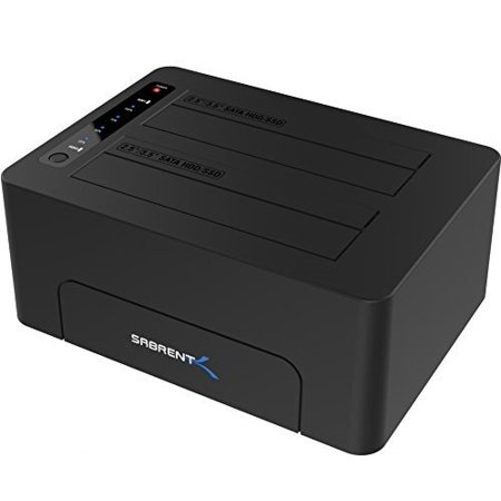 Sabrent USB 3.0 to SATA Dual Bay External Hard Drive Docking Station for 2.5 or 3.5in HDD, SSD with Hard Drive Duplicator/Cloner Function [10TB Support] (EC-DSK2) (Buffalo Drive Station Ssd)
