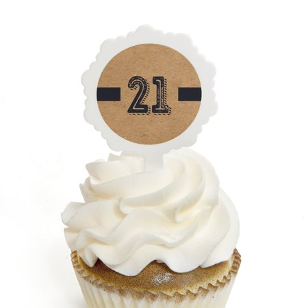 Finally 21 - 21st Birthday - Cupcake Picks with Stickers - Birthday Party Cupcake Toppers - 12 - 21st Halloween Birthday Party