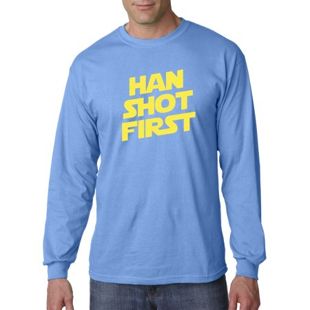 Trendy USA 906 - Unisex Long-Sleeve T-Shirt Han Shot First Han Solo Greedo Controversy 4XL Carolina Blue