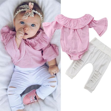 Fashion Infant Baby Girls Plaid Print Ruffles Romper Tops+Hole Pants Outfit (Infant Fashion)