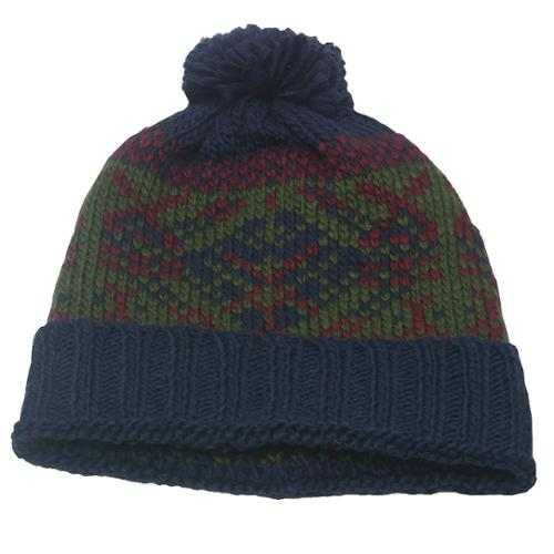 Fashion Hat Boys Navy Green Motif Pattern Ribbed Cuff Pompom Beanie Hat