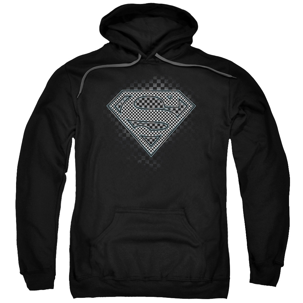 SUPERMAN/CHECKERBOARD-ADULT PULL-OVER HOODIE-BLACK-XL