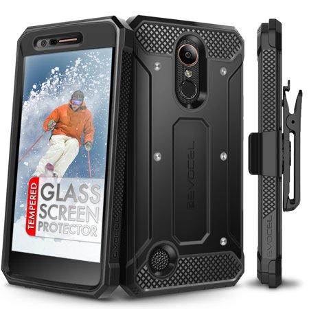 (LG K20 Plus Case, Evocel [Glass Screen Protector] [Belt Clip Holster] [Slim Profile] [Porthole Covers] Explorer Series Phone Case for LG K10 2017 / LG K20 Plus / LG V5, Black)