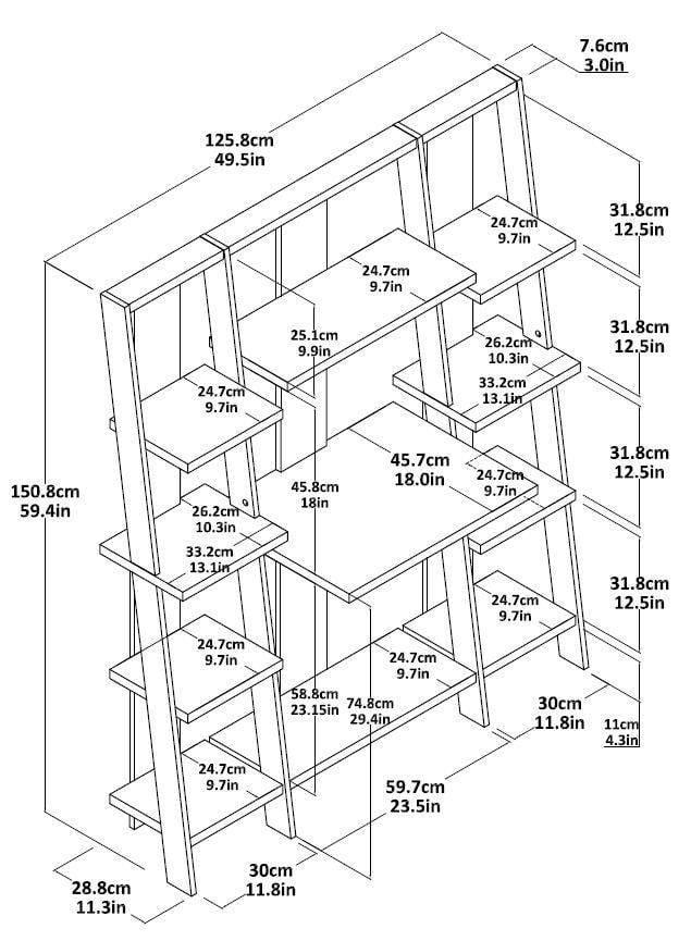 Ameriwood Home 59 Gradient Ladder Deskbookcase Espresso