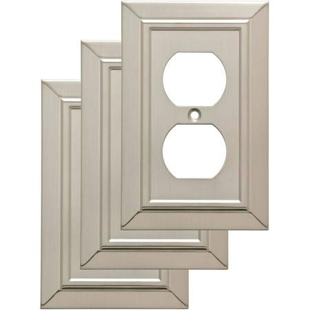 Franklin Brass Classic Architecture Single Duplex Wall Plate in Satin Nickel,