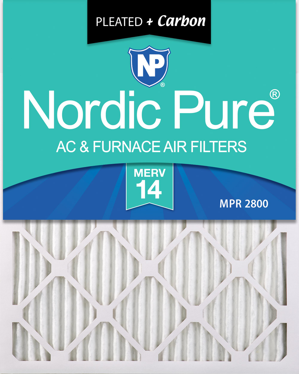 Nordic Pure 12x20x1 MERV 8 Pure Carbon Pleated Odor Reduction AC Furnace Air Filters 4 Pack