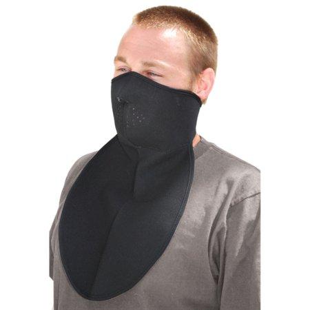 Zan Headgear Half Face Neoprene Mask with Neck Shield (Black, OSFM)