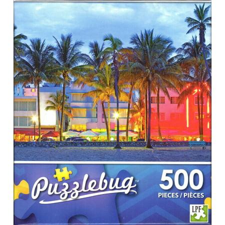 Miami Hurricanes Puzzle (Puzzlebug 500 - Sunset Drive at Sunset Miami Beach Puzzle )