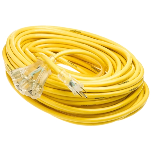 Yellow Jacket 2820 12/3 Heavy-Duty 15-Amp SJTW Contractor Extension Cord with Lighted Power Block, 100'