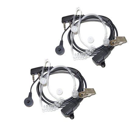 2x HQRP 2 Pin Acoustic Tube Earpiece Headsets Mic for Kenwood TK-2212, TK-2212K, TK-2302, TK-2312 + HQRP UV (12ay7 Tube Microphone Preamp)