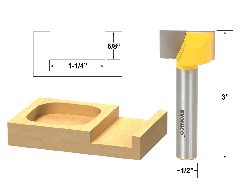 "Bottom Cleaning Dado Router Bit 1-1 4""W X 5 8""H 1 2"" Shank Yonico 14975 by Yonico"