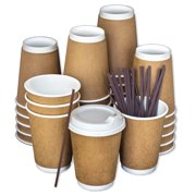 Disposable Coffee Cups To Go with Lids, Stirrers, and Integrated Sleeves [12oz - 100 Pack]