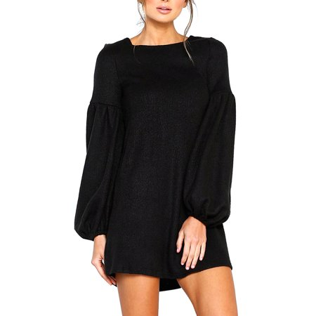 bd83a9e6fae Babula - Babula Women Solid Puff Sleeves A-line Mini Knit Dress ...