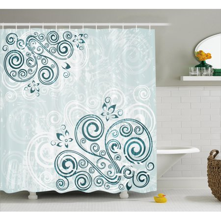 Floral Shower Curtain, Vintage Swirled Lines Leaves Petals Shabby Chic Elegance Classic Image, Fabric Bathroom Set with Hooks, 69W X 84L Inches Extra Long, Baby Blue Jade Green, by (Shabby Chic Baby Clothes)