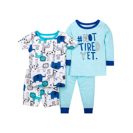 Little Star Organic 100% organic cotton tight fit pajamas, 4pc set (baby boys & toddler boys) ()