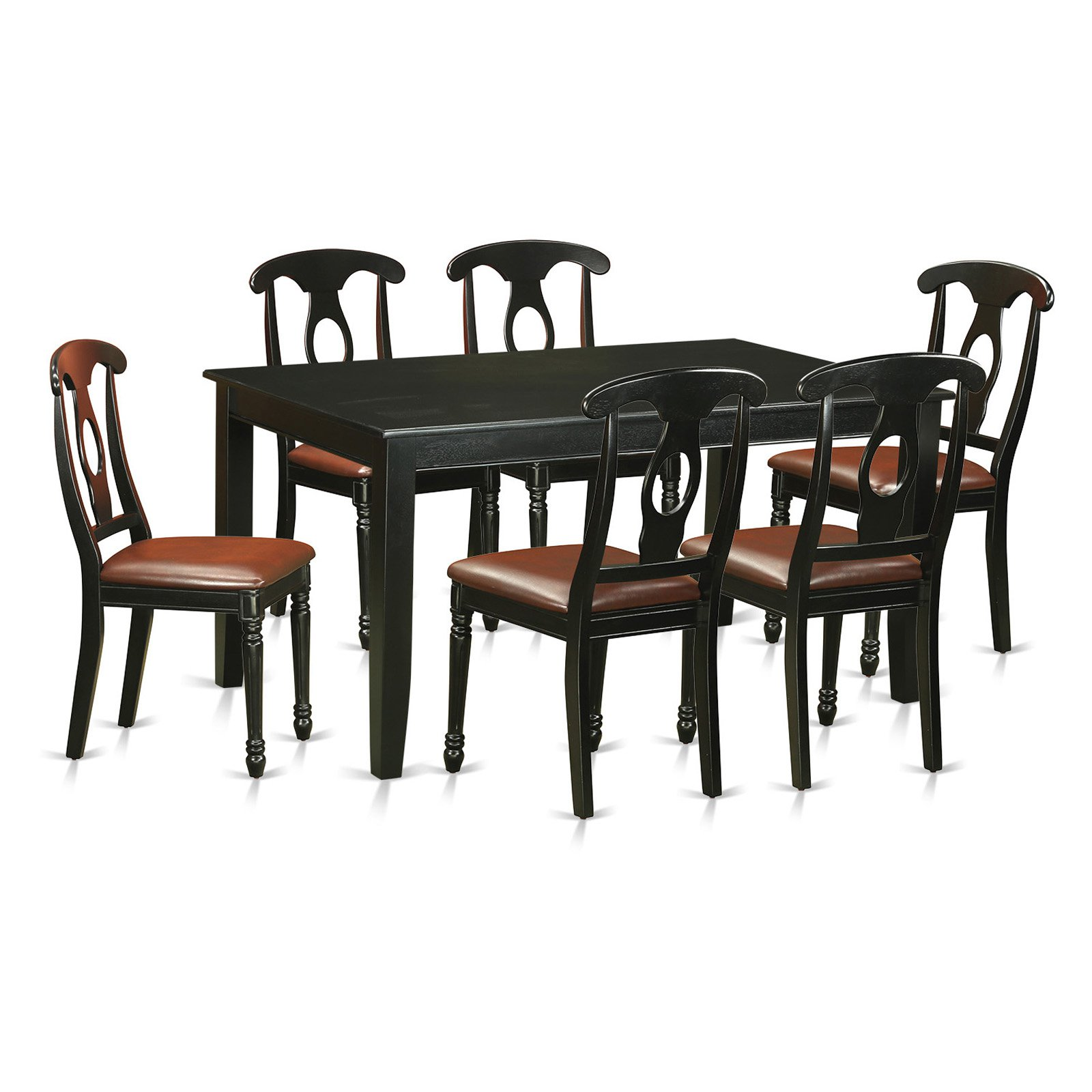 East West Furniture Dudley 7 Piece Rectangular Dining Table Set with Kenley Faux Leather Chairs