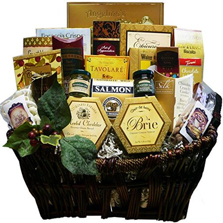 Merlot Cheddar - Pick of the Season Gourmet Food Gift Basket with Smoked Salmon (Candy Option)