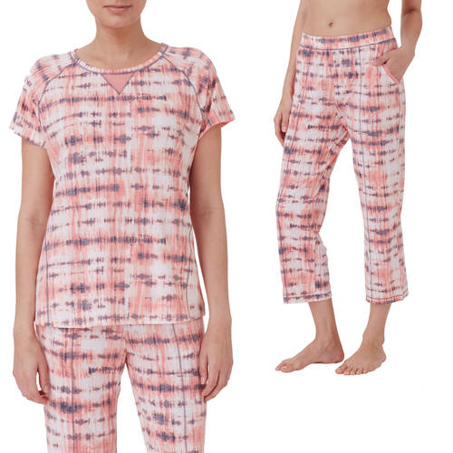 ClimateRight by Cuddle Duds Women?s Short Sleeve Sleep Tee with Mesh and Capri Sleep Pant, Value Bundle