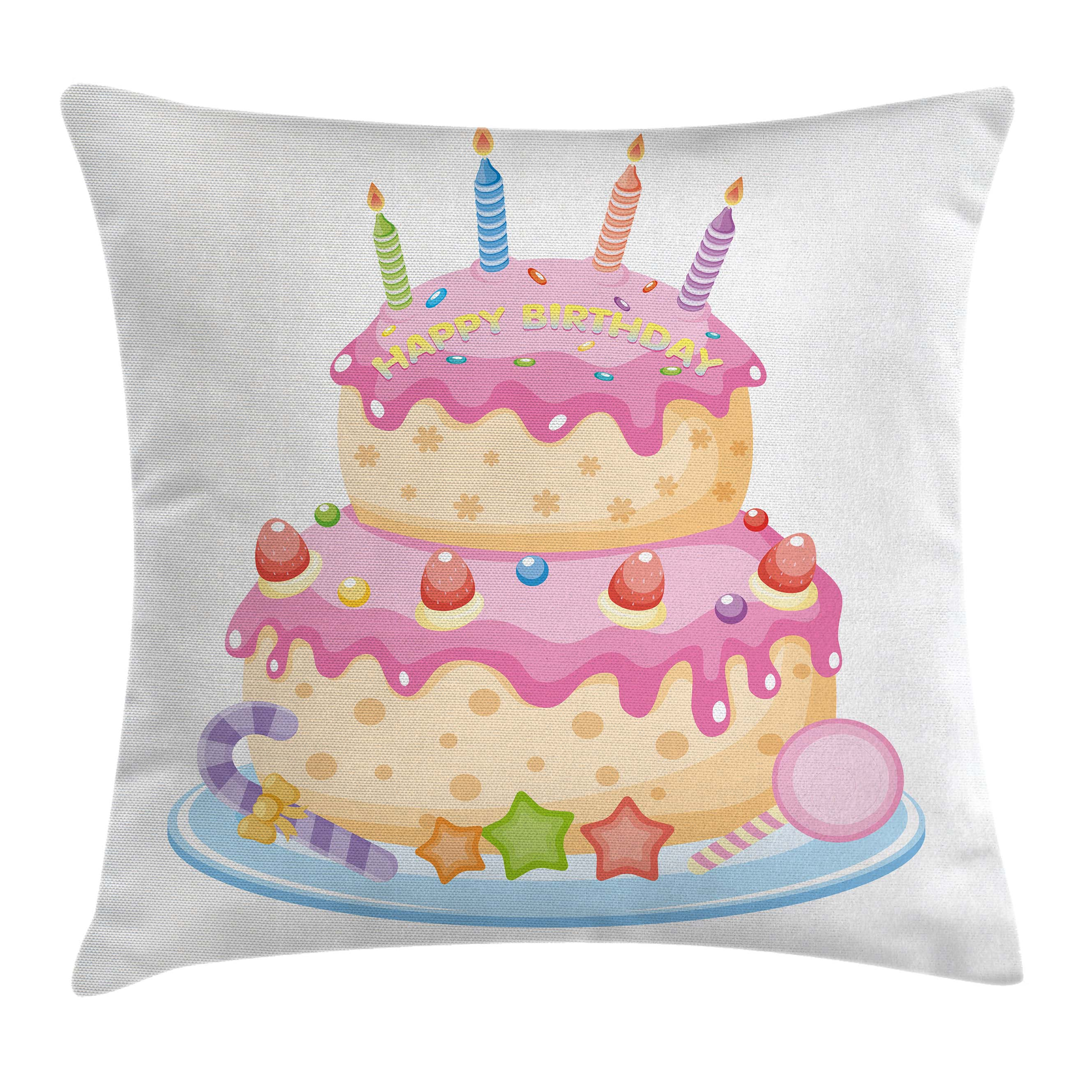 Birthday Decorations for Kids Throw Pillow Cushion Cover, Pastel Colored Birthday Party Cake with Candles and Candies, Decorative Square Accent Pillow Case, 16 X 16 Inches, Light Pink, by Ambesonne