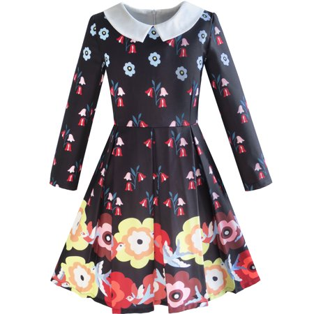 Sunny Fashion Girls Dress Fit And Flare Flower Print Party Long Sleeve Cute Size 6 14
