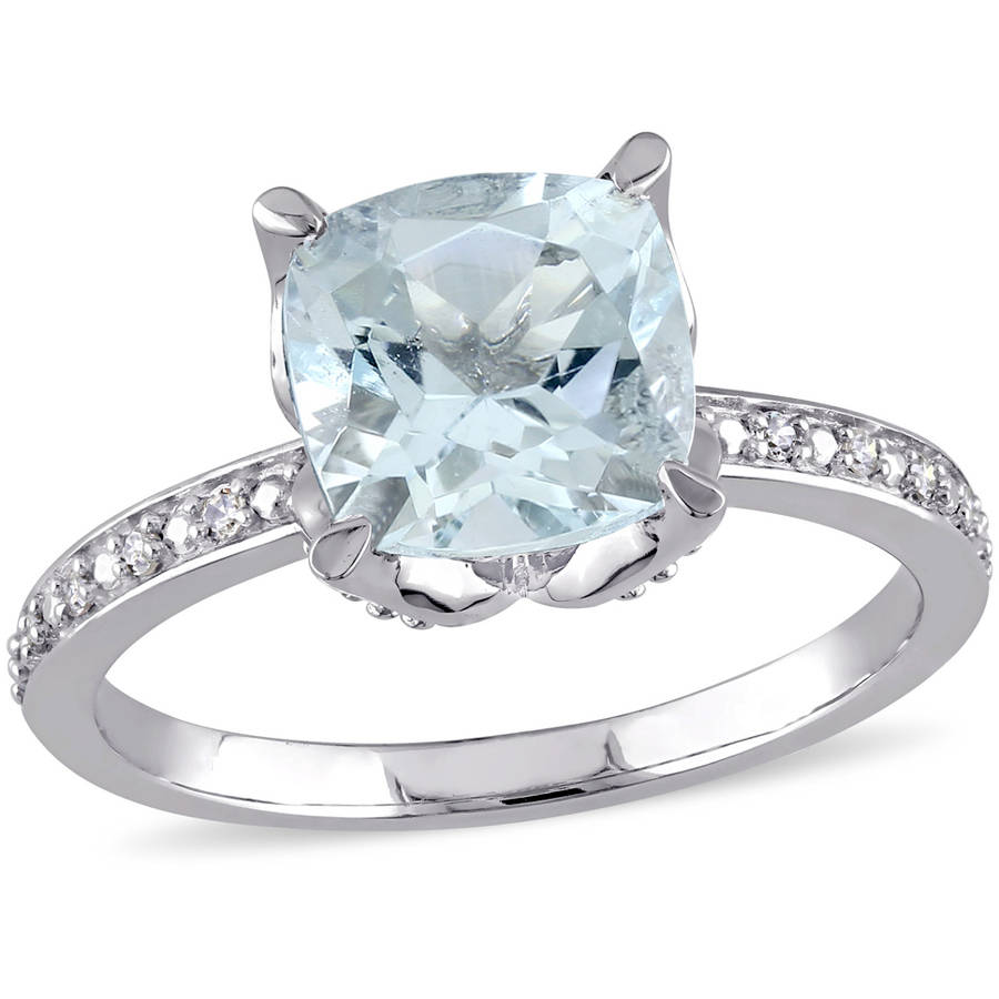 Tangelo 1-3 4 Carat T.G.W. Aquamarine and Diamond-Accent 10kt White Gold Cocktail Ring by Tangelo