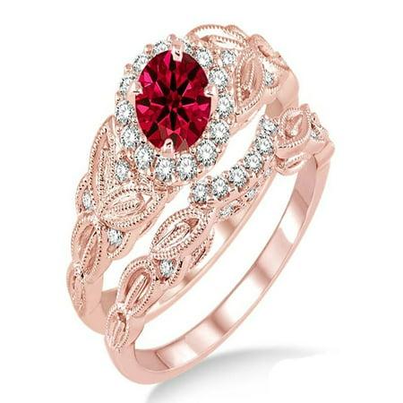 Channel Set Ruby Ring (1.25 Carat Ruby & Diamond Vintage floral Bridal Set Engagement Ring on 10k Rose)