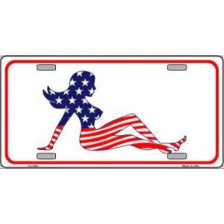 Patriotic Mud Flap Girl - American Mud Flap Girl Metal License Plate