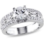 1-7/8 Carat T.G.W. White Sapphire Sterling Silver Filigree Engagement Ring