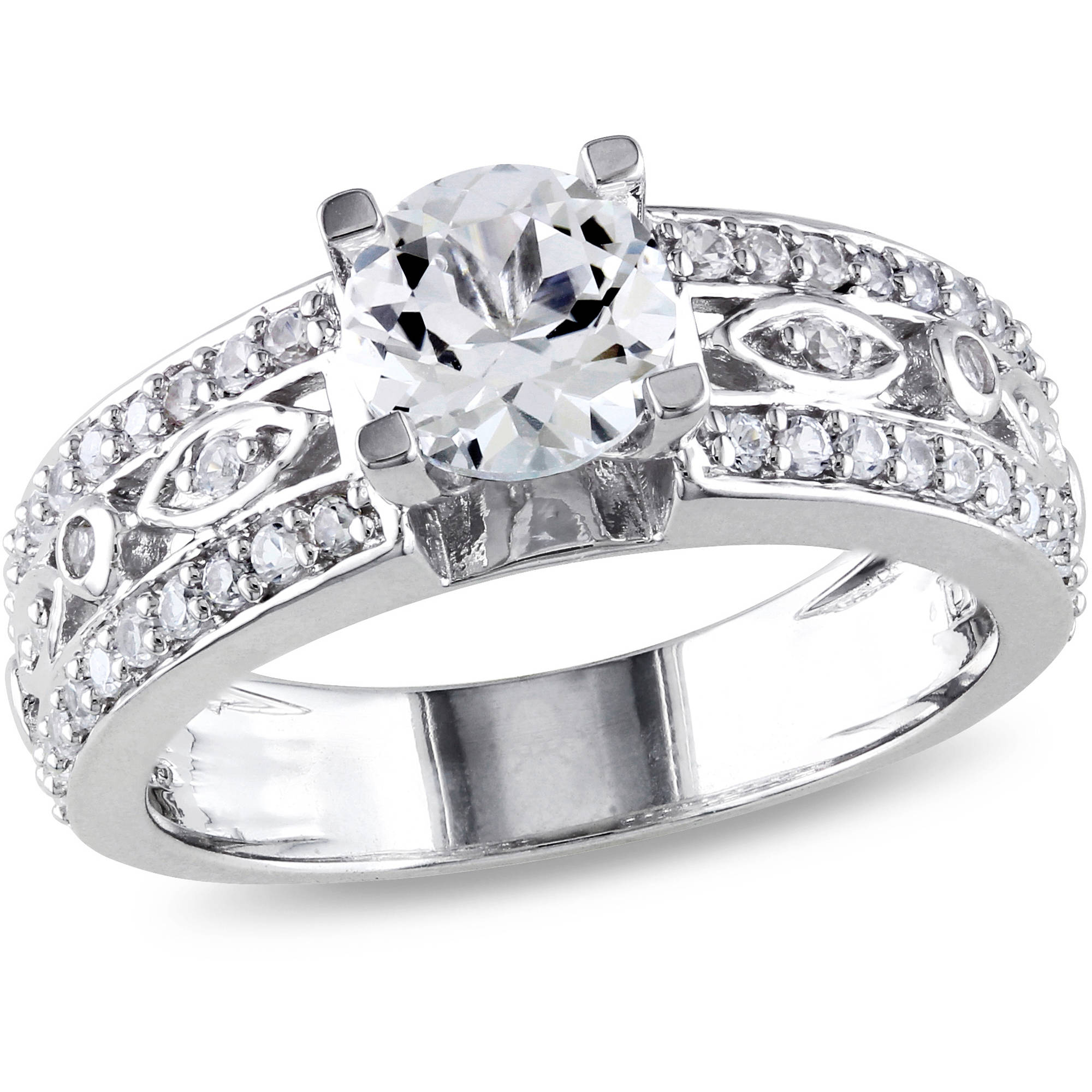Miabella 1-7/8 Carat T.G.W. White Sapphire Sterling Silver Filigree Engagement Ring