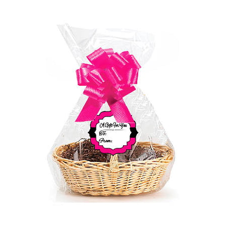 Hot Pink 2Pack Designer Cello Bags / Tags / Bows Cellophane Gift Basket Packaging Bags Flat 18