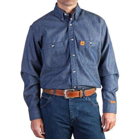 Wrangler apparel mens denim fire resistant work shirt for Mens denim work shirt
