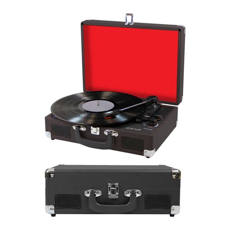 Craig 3-in-1 Turntable Attache Case System with BT, Black