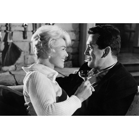 Pillow Talk Doris Day Rock Hudson drinking champagne smiling at each other 24x36 - Champagne At Walmart