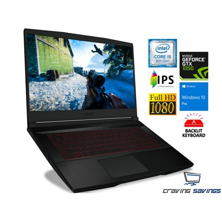 "MSI GF63 15.6"" IPS FHD Gaming Notebook, Intel Quad-Core i5-8300H 2.3GHz Upto 4.0GHz, 16GB DDR4, 1TB SSD + 1TB HDD, NVIDIA GeForce GTX 1050 4GB, MiniDisplayPort, HDMI, Card Reader, Windows 10 Pro"