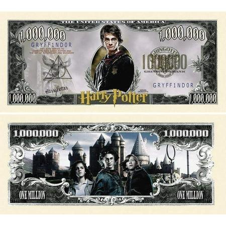 "50 Harry Potter Million Dollar Bill with Bonus ""Thanks a Million"" Gift Card Set Dollar Bills Money Currency"