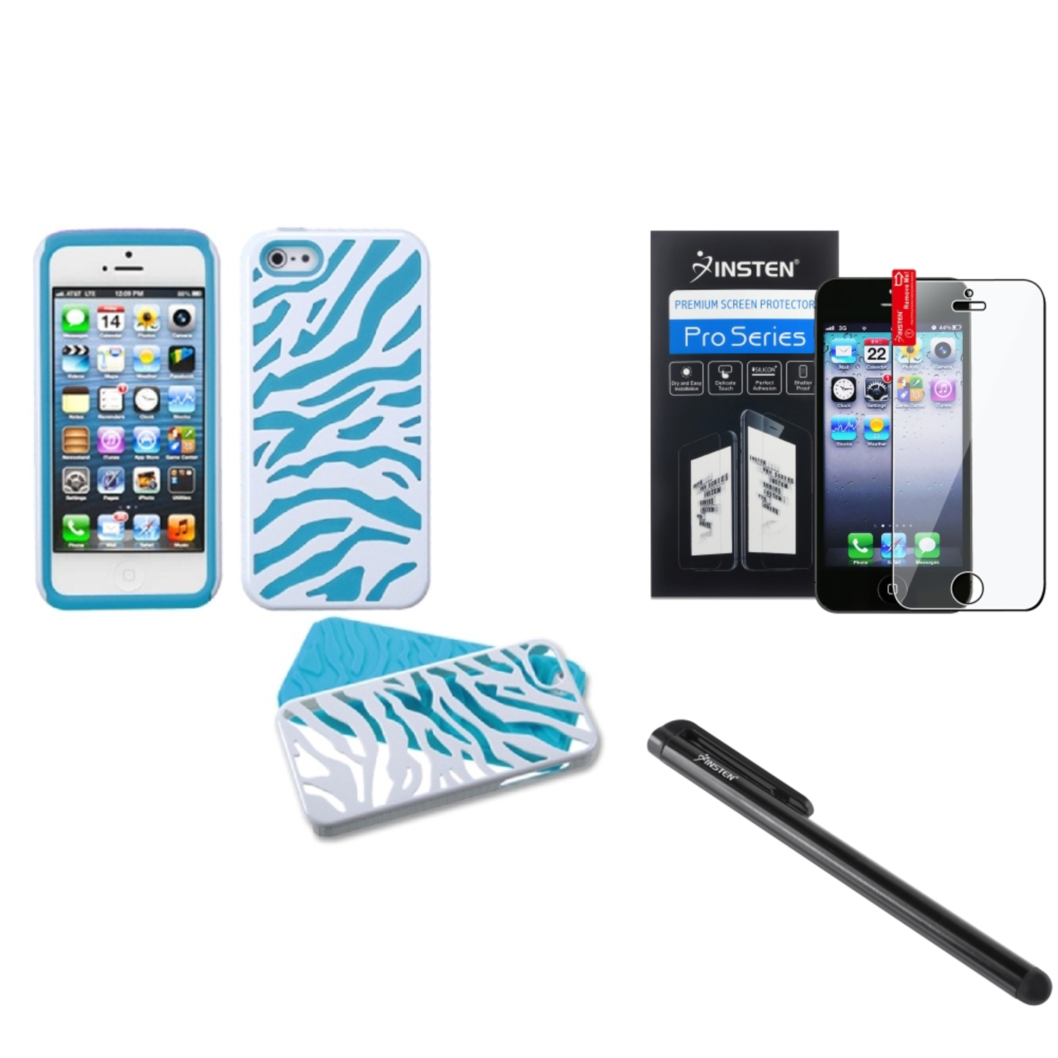 Insten Natural Ivory White Zebra/Tropical Teal Green Case+Film+Stylus For APPLE iPhone 5 5S