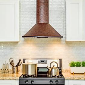 "AKDY 30"" Wall Mount Range Hood Embossed Copper 4 Speed Touch Control Fan  for Kitchen"