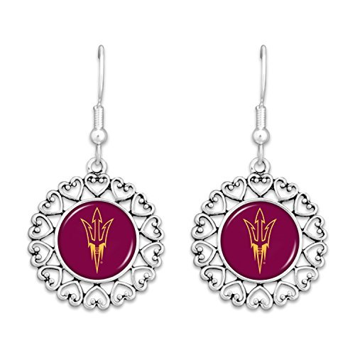 Arizona State Sun Devils Logo Circle Earrings with Hearts